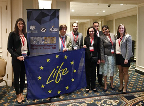 Researchers of the LIFE-REPOLYUSE: Sara Gutiérrez González, Carlos Junco Petrement ,Verónica Calderón Carpintero with researchers from the University of New Mexico, USA and SES Group&Associates, LLC. Chesapeake City, USA